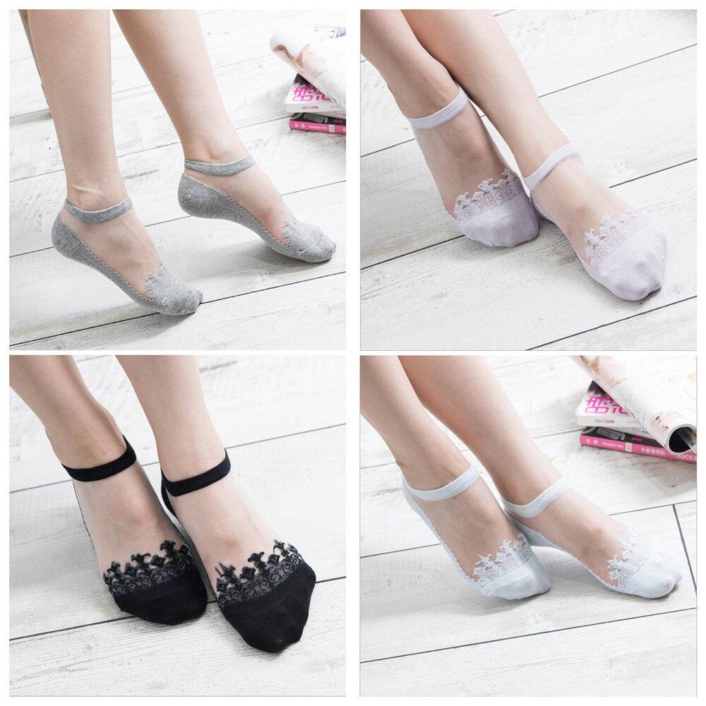 Japanese Harajuku Jacquard Transparent Crystal Silk Socks Women's Socks Thin Invisible Nylon Boat Socks