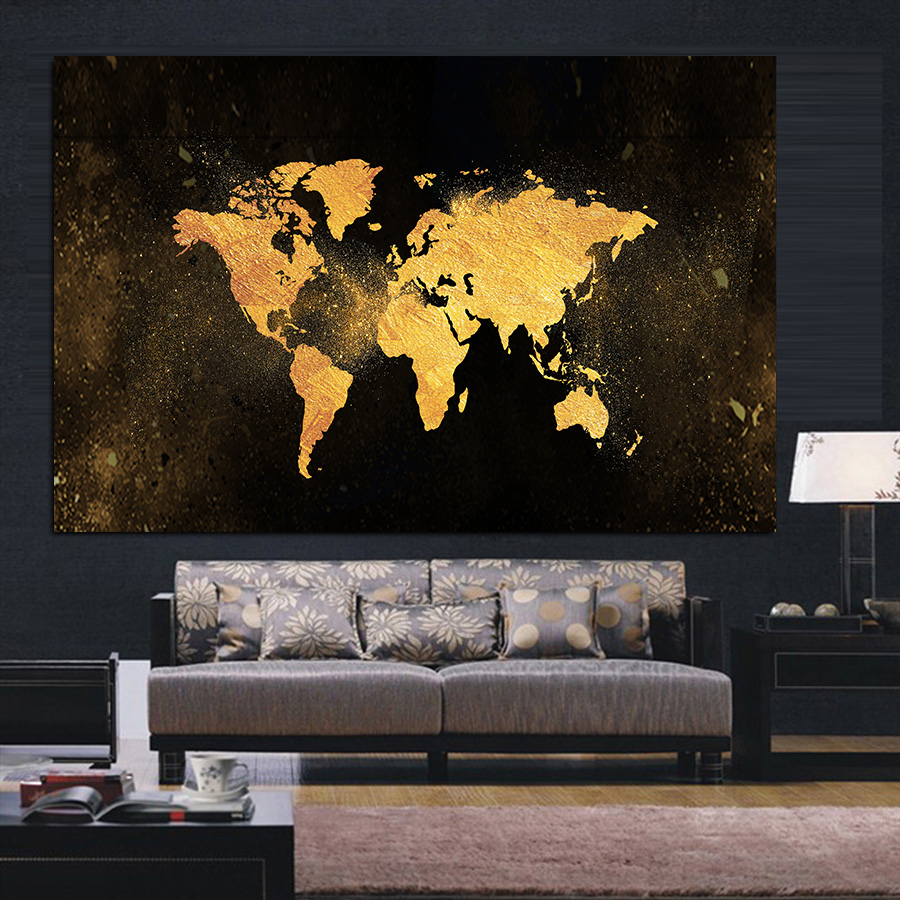 Gold World Map Canvas Painting Posters