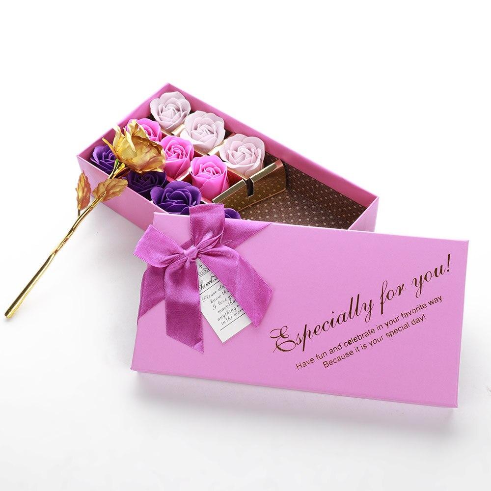 14pcs Romantic Gift Box Bath Body Petal Artificial Rose Soap Flower Set In Box For Wedding Party Favor Birthday Gift  Chrismas