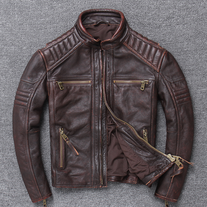 Imported Soft Thick Head Layer Cowhide Brief Paragraph Locomotive Lear Man Really Do Old Lear Jacket Collar Pure Pipi Male