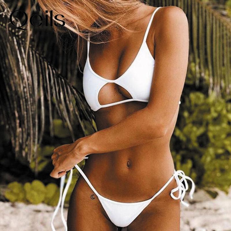 Qeils-Bikini blanco con Push-Up para mujer, traje de baño Sexy de cintura baja con relleno, bañador brasileño para mujer 2021