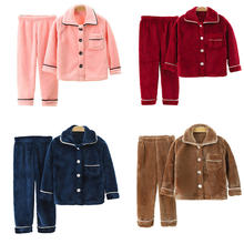 Children's coral fleece pajamas set autumn and winter thickened