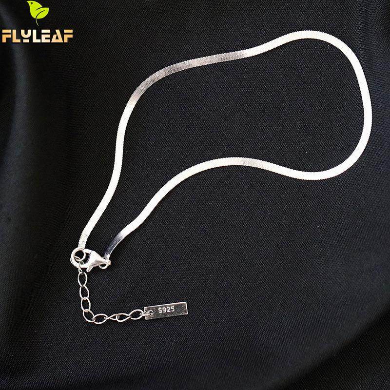 Flyleaf Snake bone chain Real 925 Sterling Silver Anklet Bracelet Fashion Fine Jewelry For Women Anklets On Foot Enkelbandje