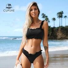 CUPSHE Black Solid Bikini Set Women Plain Ruffle Crop Top Thong Two Pieces Swimwear 2020 Girl Beach Bathing Suits Swimsuits