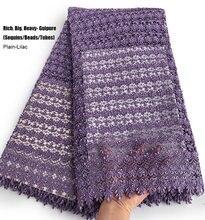 Ciężki zwykły Lilac wszystkie Handworks afrykańska gipiura koronki bogaty łańcuch ślubny tkaniny wielki nigeryjski okazjonalne nosić ubrania sukienka 5 metrów
