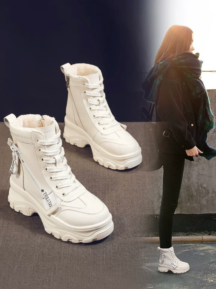 Leather Women's Chunky Boots Winter Thick Fur Warm Women Platform Sneakers 2019 Fashion Combat Boots Woman Snow Boots