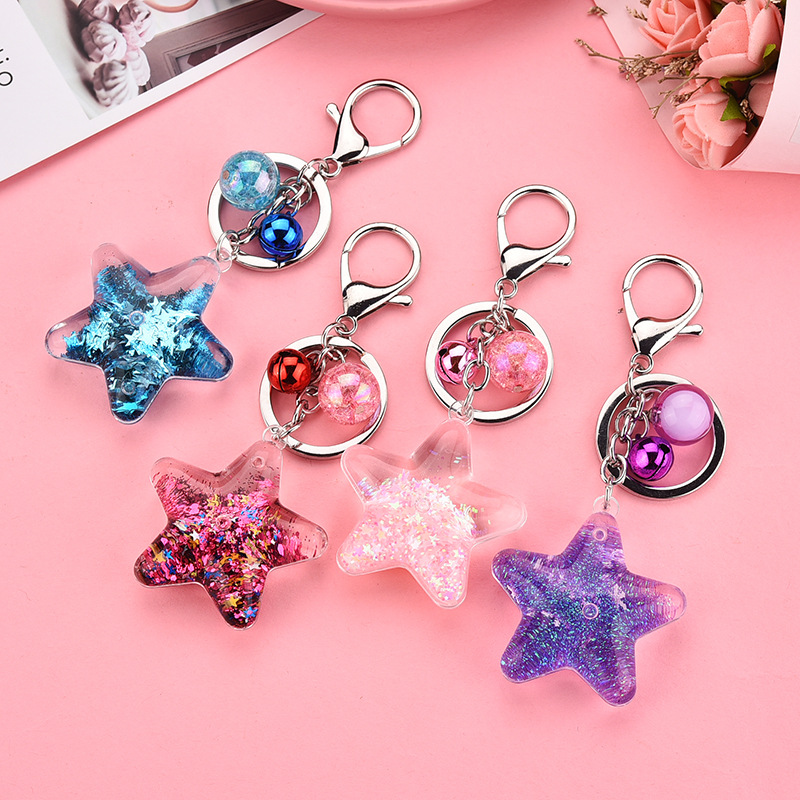 Star Powder Moving Liquid Key Ring Fantasy Keychain Glitter Quicksand Star Keychain Car Key Pendant Creative Women Girls Gift