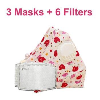 3 PCS Del Fumetto PM2.5 Bambini Maschera Maschera Con 6 Filtri Respiro Bocca Valvola Viso Maschera Per Bambini Lavabile Maschera Maschera di Polvere a prova di sterile In Magazzino 21