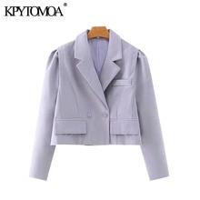 KPYTOMOA Women 2020 Fashion Double Breasted Cropped Blazer C