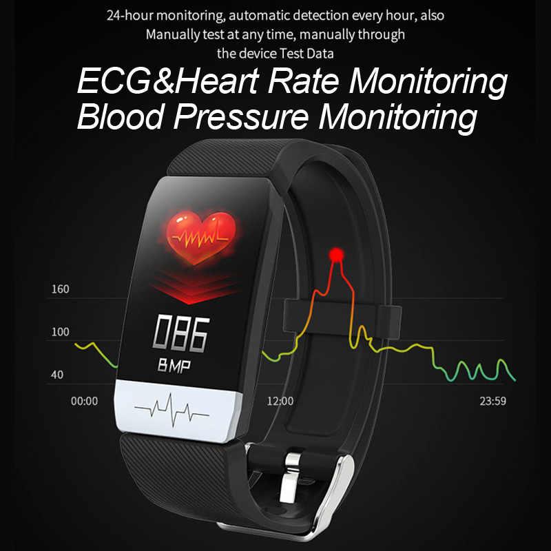سوار ذكي Q1S أندرويد IOS الرياضة الفرقة ECG القلب معدل ضغط الدم النوم رصد جهاز تعقب للياقة البدنية اللون دعوة رسالة ساعة