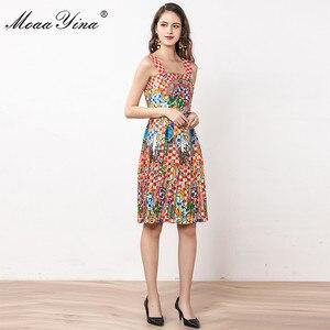 Image 3 - MoaaYina ファッションデザイナードレス夏の女性スパゲッティストラップビーズヴィンテージ休暇ドレス