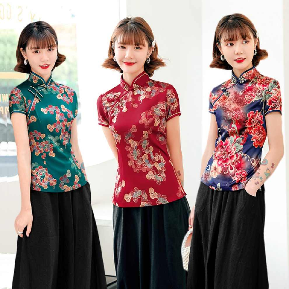 Shanghai Verhaal Cheongsam Shirt Qipao Top Korte Mouw Chinese Traditionele Tahi Chi Shirt Chinese Blouse Plus Size