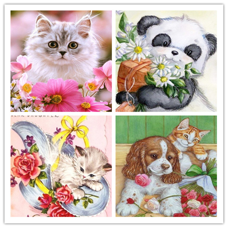 Diamond Painting Animals Cat and panda Diamond Embroidery dog diy Full Drill Cross Stitch Christmas Gifts Home Decoration