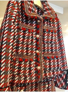 Image 4 - 2019 otoño Plaid Tweed 2 piezas conjunto invierno mujeres elegante Flare manga perla botón chaqueta abrigo + alta cintura lana mini falda trajes