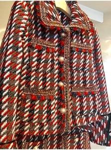 Image 4 - Ensemble élégant en Tweed en Plaid 2 pièces pour femmes, manteau à manches évasées, boutons avec perles, taille haute, Mini jupe en laine, collection automne hiver 2019