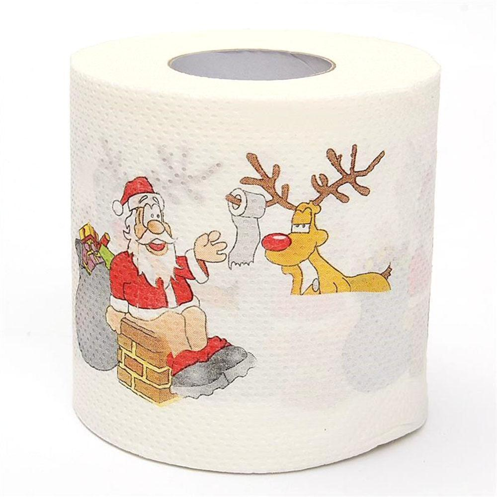 1Roll Santa Claus/Deer Merry Christmas Supplies Printed Toilet Paper Home Bath Room Toilet Paper Tissue Roll Xmas Presents Decor