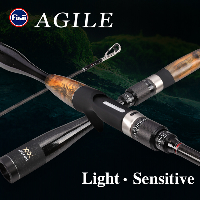 TSURINOYA Fishing Rod AGILE 1.96m 2.01m L ML Ultra light Weight FUJI accessories Carbon Handle Spinning Casting Rod