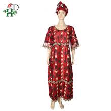 H&D woman bazin dress african lace dresses for women embroidery dashiki clothing XXXL maxi with turban