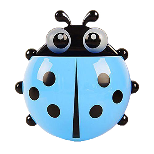 Big deal Convenient Bathroom Toothbrush Stuff Ladybug Wall Suction Holder-Blue image