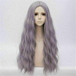 CosplaySalon dames Lolita 78cm de Long ondulé gris violet dégradé mignon cheveux fête résistant à la chaleur synthétique Cosplay perruque pour les femmes