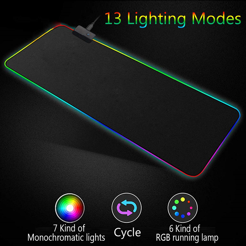 Image 2 - RGB Soft Large Gaming Mouse Pad Oversize Glowing Led Extended  Mousepad Non Slip Rubber Base Computer Keyboard Pad Mat-in Mouse Pads  from Computer