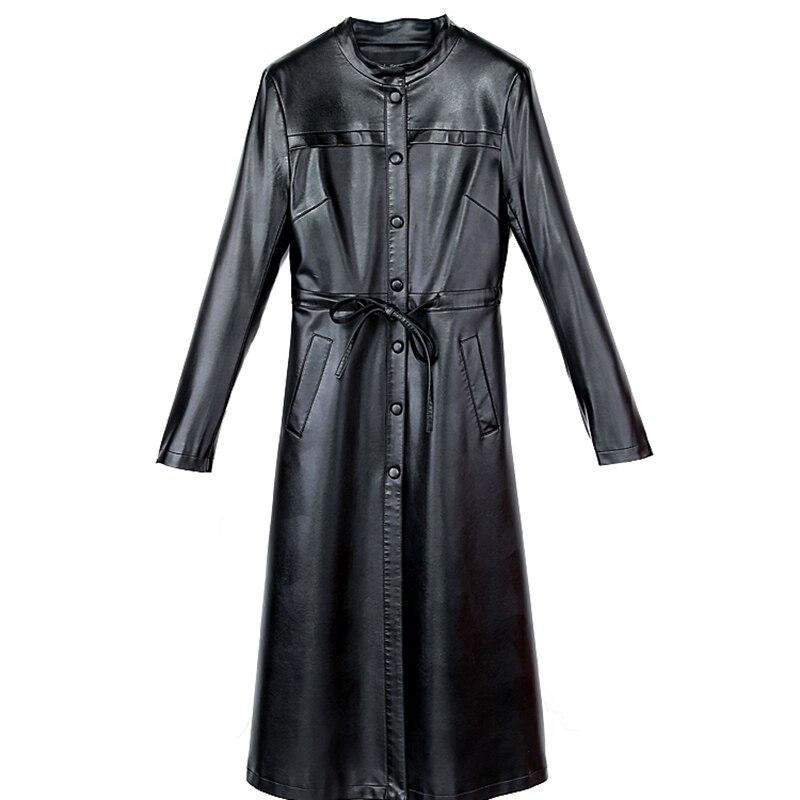 Haute qualité femmes PU cuir manteau automne hiver femme élégant PU cuir trench manteaux OL longue veste d'extérieur grande taille
