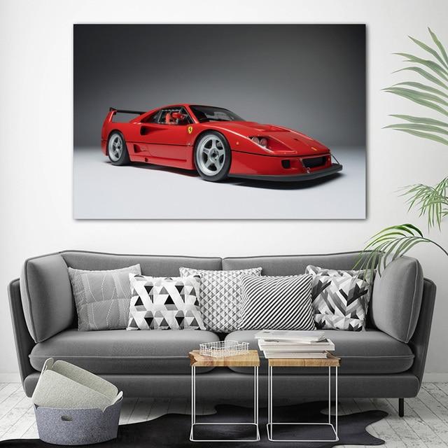 Ferraris F40 Kırmızı Araba Spor Araba Supercar Posterler ve Baskılar Tuval Duvar Sanatı DIY Çerçeveli Boyama Oturma Odası Dekor için