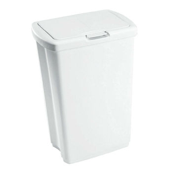Rubbermaid 13.25 Gallon Rectangular Spring-Top Lid Wastebasket Trash Can, White image