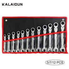 KALAIDUN Set di chiavi a cricchetto chiave a cricchetto chiave universale 12 PCS 8-19mm Set di chiavi regolabili multitool CR-V strumenti di riparazione auto