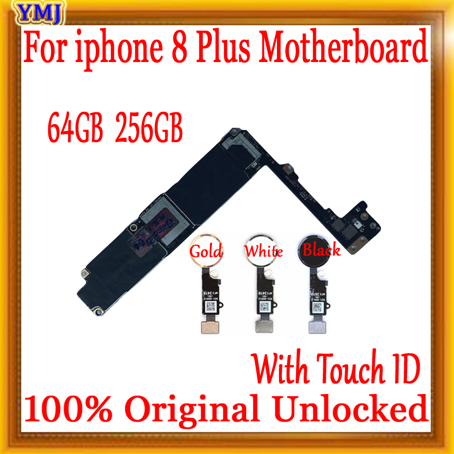 100% Original Unlocked Motherboard For iPhone 8 Plus 5.5inch With/NO Touch ID For iPhone 8 Plus Logic Board Mainboard With Chips|Mobile Phone Antenna| |  - title=
