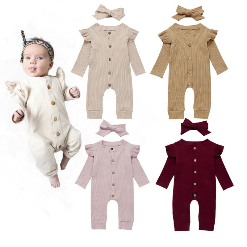Newborn Baby Girl Romper Cotton Comfortable Long-sleeved Ruffled Jumpsuit + Bow Headdress Casual Solid Infant Girl Suit