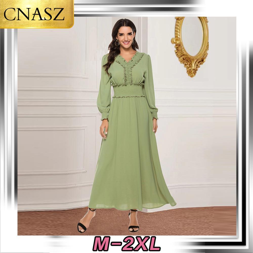 Muslim Dress Islamic Turkey Fashion Pleated Waist Chiffon Dress Dubai Middle East Elegant Long Sleeve Dress Moroccan Bangladesh