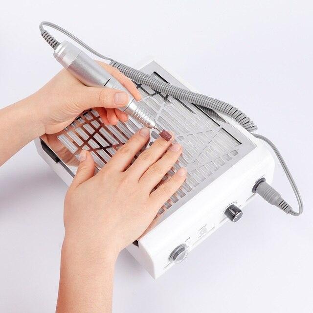 2 1 40W 45000RPM 전기 손톱 먼지 수집가 핸드 피스 매니큐어 페디큐어 기계 파일 키트 네일 드릴 비트와 네일 도구
