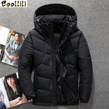 Boolili New Fashion Winter White Duck Down Jacket men brand male warm down Coat top quality fashion casual blue down Parkas men cheap Wide-waisted zipper Full Pockets Zippers Thick (Winter) Broadcloth Polyester NONE 150g-200g Solid REGULAR