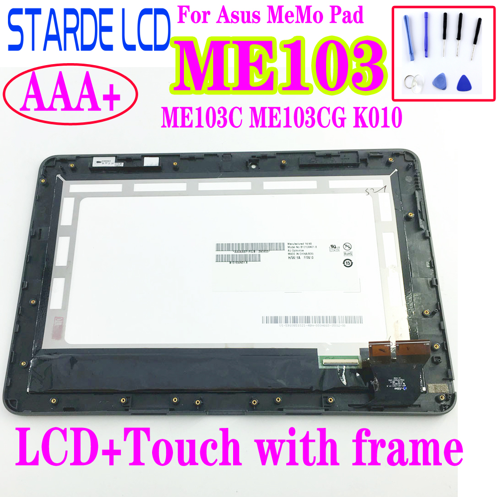 STARDE Replacement LCD For Asus MeMO Pad 10 ME103K ME103CG  ME103 K010 LCD Display Touch Screen Digitizer Assembly With Frame