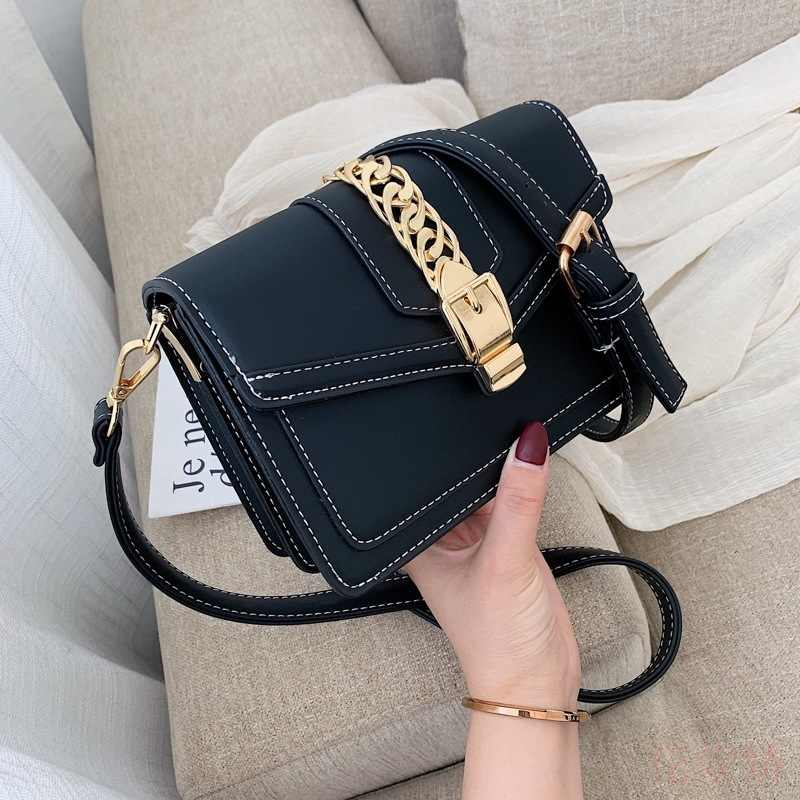 Hong Kong Style Small Chains Leather Crossbody Bags For Women 2019 4 Colors Ladies Messenger Bag Girls Money Pocket
