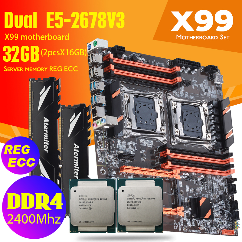 atermiter Dual X99 Motherboard Intel with 2011 3 Intel XEON E5 2678 V3*2 with 2pcs X 16GB = 32GB DDR4 2400MHz memory combo kit|Motherboards| - AliExpress
