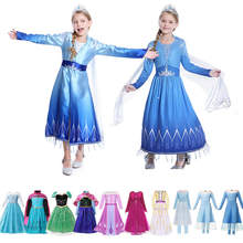 Girls Elsa Princess Dress Anna Winter Inspired Costume Cartoon Film Light Up Long Sleeves Makeup Snowman Olaf Cosplay Party Sets