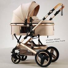 Belecoo легкая Роскошная детская коляска 3 в 1 портативная Двусторонняя