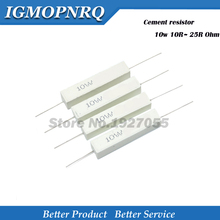 10 sztuk wysokiej jakości 10W cementu odporność na 10R ~ 25R Ohm 10 15 20 25 ohm 10R 15R 20R 25R rezystor cementowy