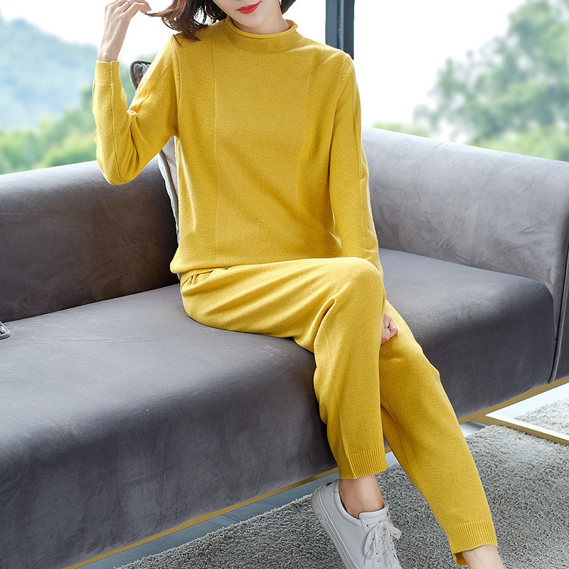 Knitted Tracksuit Women Set 2 Two Piece Long Sleeve Sweater Top Pants 2020 Spring Autumn Casual Track Suits Female Ladies Outfit