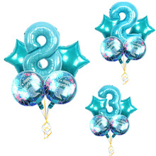Large Cartoon Mermaid Foil Balloon Latex Little 30Inch Number set Balloons Girl Happy Birthday Party Gift