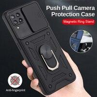 Samsung 22 caso armadura A prueba de golpes A prueba de Coque para Samsung Galaxy A22 2021 4G 5G 5 coche magnético anillo Push Pull Cámara proteger Shell