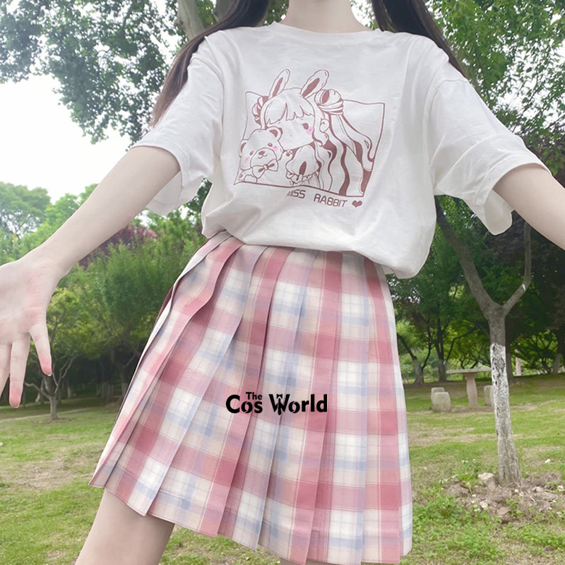 [Characium] Girl's Japanese Summer High Waist Pleated Plaid Skirts For JK School Uniform Students Cloths