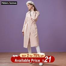 Metersbonwe brand women's Trench Coat Long knee-length Autumn Winter OL Wear New