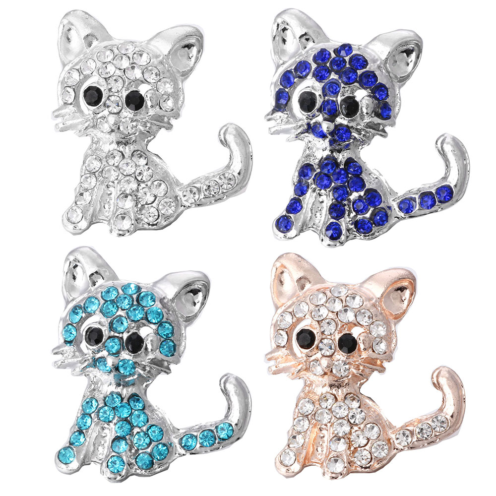 5pcs/lot New 18mm Snap Button Jewelry Full Rhinestone Cat 18mm Snap Jewelry Fit Rose Gold Snap Bracelet Necklace