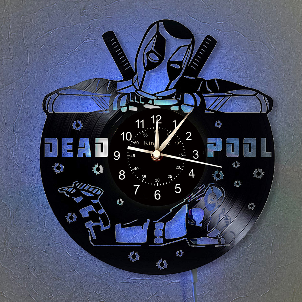 Deadpool Clock <font><b>12</b></font>-Inch LED Vinyl Record Wall Clock | Hanging Night Lamp <font><b>7</b></font> Lighting Color | Home Decor Cartoon Design Wall Clock. image