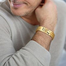 Personalisierte Männer Armband Rostfreiem Stahl In Gold Farbe Custom Text ZU MEINEM SOHN Herren Zubehör