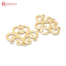 Jewelry-Making-Supplies Pendants Charms Connect Diy-Accessories Brass Gold-Color 24K