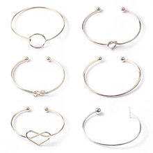 Personality temperament simple open knot twisted hollow love bracelet ornaments retro  bangles for women cuff bracelets